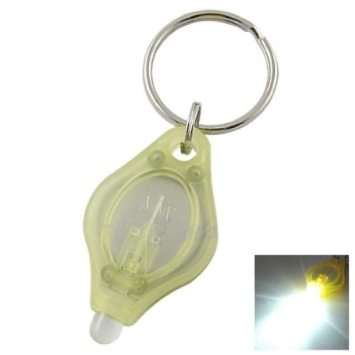 Mini LED Keychain Flashlight Torch Keyring White Light - Yellow