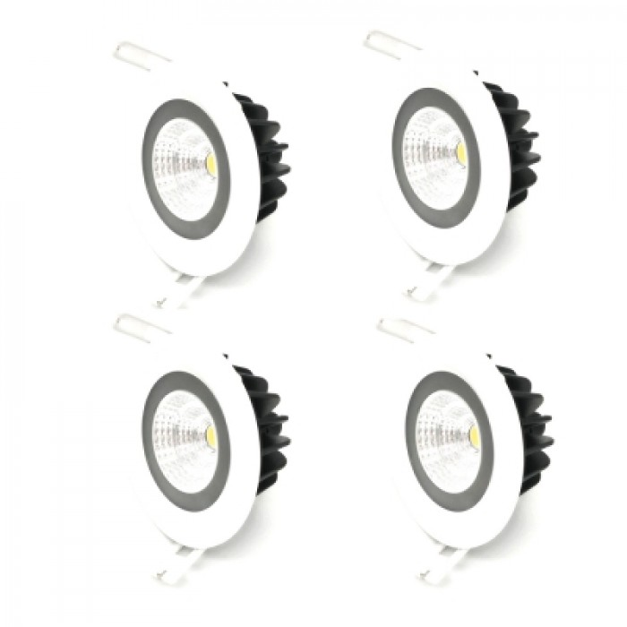 ZDM 4PCS 7W 600 - 650LM IP65 Waterproof White Round LED Ceiling Light Warm White AC 85 - 265V