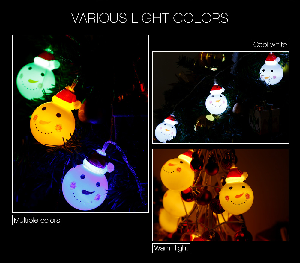 1.2M 10 LEDs Snowman Light String Lamp for Christmas Home Party