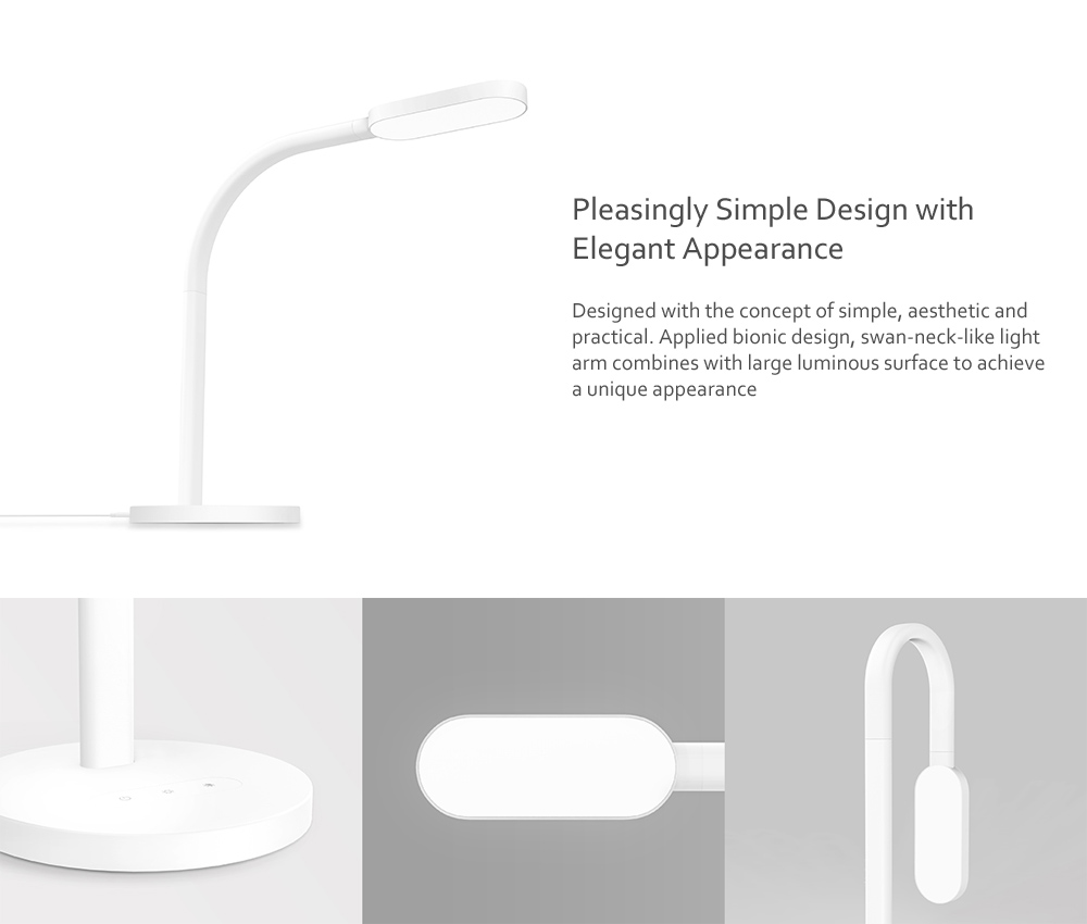 Yeelight YLTD02YL 260lm Brightness and Color Temperature 5-mode Adjustable USB Rechargeable Touch Control LED Table Light Charging Version ( Xiaomi Ecosystem Product ) - White Rechargeable