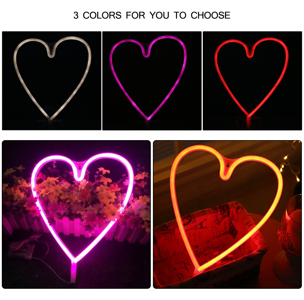 Creative LED Heart Shape Neon Night Light Wall Lamp Holiday Decorations